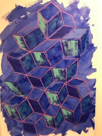 "Untitled, acrylic on canvas, 34"" x 44"", 2020"