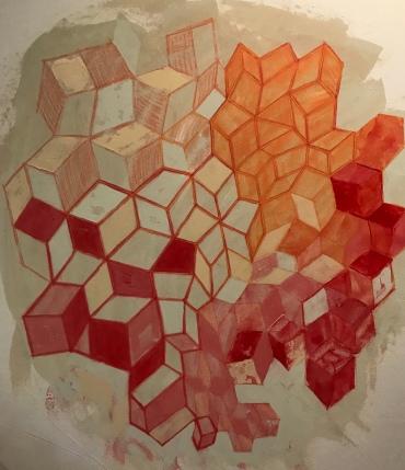 "Untitled, acrylic on canvas, 34"" x 34"", 2020"